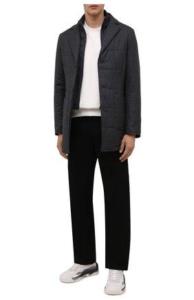Мужская утепленная куртка CANALI серого цвета, арт. 010379/SG02130 | Фото 2 (Материал подклада: Синтетический материал; Материал внешний: Шерсть; Рукава: Длинные; Кросс-КТ: Куртка; Мужское Кросс-КТ: утепленные куртки; Стили: Классический; Длина (верхняя одежда): До середины бедра)