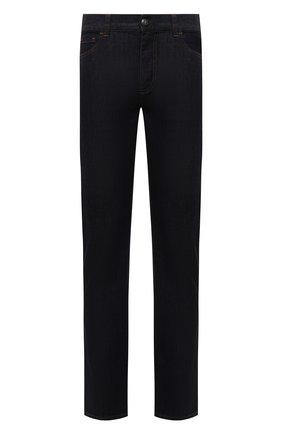 Мужские джинсы CANALI темно-синего цвета, арт. 91700IR/PD00018   Фото 1 (Материал внешний: Хлопок; Кросс-КТ: Деним; Силуэт М (брюки): Прямые; Стили: Классический; Длина (брюки, джинсы): Стандартные)
