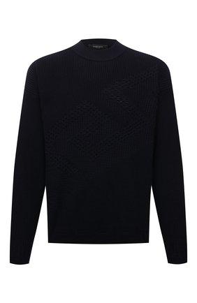 Мужской шерстяной свитер VERSACE темно-синего цвета, арт. 1002167/1A01655 | Фото 1 (Длина (для топов): Стандартные; Рукава: Длинные; Материал внешний: Шерсть; Принт: Без принта; Мужское Кросс-КТ: Свитер-одежда; Стили: Кэжуэл)