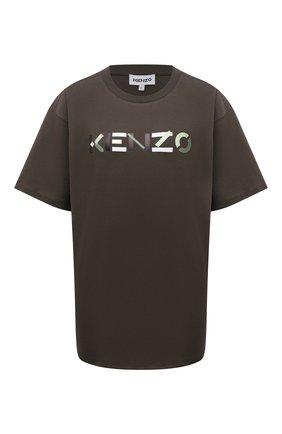 Женская хлопковая футболка KENZO темно-коричневого цвета, арт. FB62TS9744SA   Фото 1 (Длина (для топов): Удлиненные; Материал внешний: Хлопок; Рукава: Короткие; Стили: Спорт-шик; Принт: С принтом; Женское Кросс-КТ: Футболка-одежда)