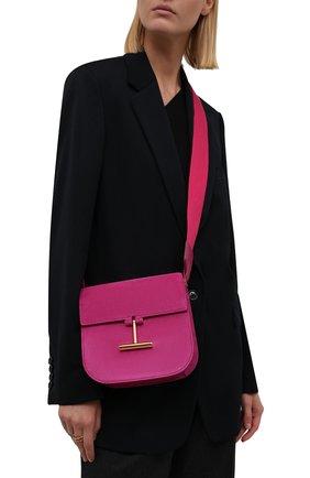 Женская сумка tara mini TOM FORD фуксия цвета, арт. L1502T-LCL209 | Фото 2 (Материал: Натуральная кожа, Натуральная замша; Размер: mini; Ремень/цепочка: На ремешке)
