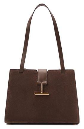 Женская сумка tara medium TOM FORD коричневого цвета, арт. L1342T-LCL068   Фото 1 (Материал: Натуральная кожа, Натуральная замша; Размер: medium; Сумки-технические: Сумки top-handle)