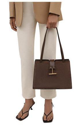 Женская сумка tara medium TOM FORD коричневого цвета, арт. L1342T-LCL068   Фото 2 (Материал: Натуральная кожа, Натуральная замша; Размер: medium; Сумки-технические: Сумки top-handle)