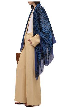 Женский шарф DOLCE & GABBANA синего цвета, арт. FS184A/G3SIA   Фото 2 (Материал: Текстиль)