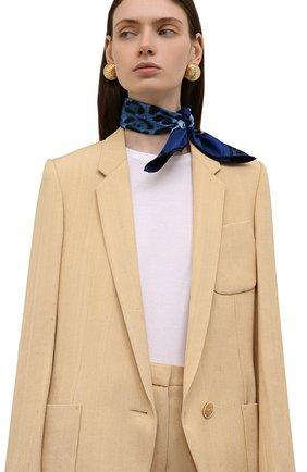 Женский шелковый платок DOLCE & GABBANA синего цвета, арт. FN093R/G0TGK   Фото 2 (Материал: Текстиль, Шелк; Принт: С принтом)