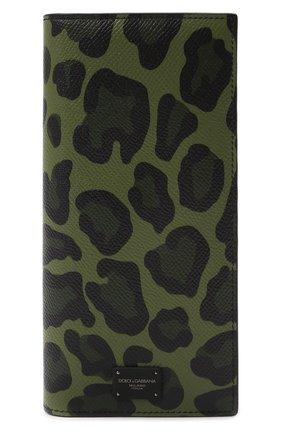 Мужской кожаное портмоне DOLCE & GABBANA хаки цвета, арт. BP2573/AZ657 | Фото 1
