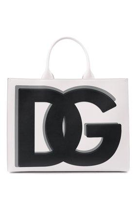 Женский сумка-тоут beatrice DOLCE & GABBANA черно-белого цвета, арт. BB7022/AQ276   Фото 1 (Размер: large; Материал: Натуральная кожа; Сумки-технические: Сумки-шопперы)