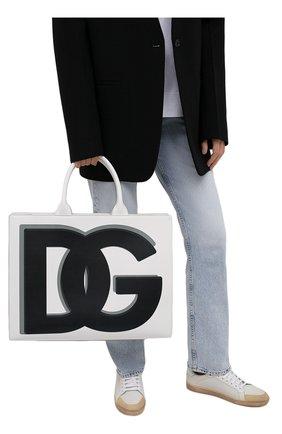Женский сумка-тоут beatrice DOLCE & GABBANA черно-белого цвета, арт. BB7022/AQ276   Фото 2 (Размер: large; Материал: Натуральная кожа; Сумки-технические: Сумки-шопперы)