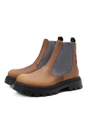 Детские кожаные челси JARRETT коричневого цвета, арт. J1BT026A/VIT.T0RNAD0 INGR./28-34   Фото 1 (Материал утеплителя: Шерсть; Кросс-КТ: челси)
