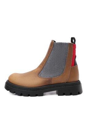 Детские кожаные челси JARRETT коричневого цвета, арт. J1BT026A/VIT.T0RNAD0 INGR./28-34   Фото 2 (Материал утеплителя: Шерсть; Кросс-КТ: челси)
