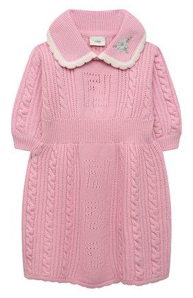 Детское шерстяное платье FENDI розового цвета, арт. JFG077/AG3S/3A-6A | Фото 1 (Рукава: Короткие; Материал внешний: Шерсть; Девочки Кросс-КТ: Платье-одежда; Случай: Повседневный; Ростовка одежда: 4 года | 104 см, 5 лет | 110 см, 6 лет | 116 см)