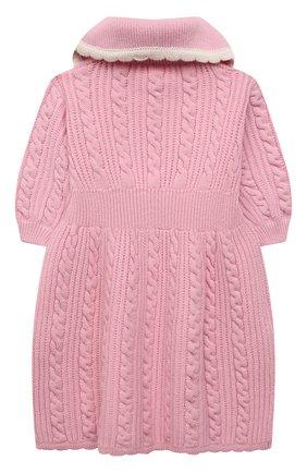 Детское шерстяное платье FENDI розового цвета, арт. JFG077/AG3S/3A-6A | Фото 2 (Рукава: Короткие; Материал внешний: Шерсть; Девочки Кросс-КТ: Платье-одежда; Случай: Повседневный; Ростовка одежда: 4 года | 104 см, 5 лет | 110 см, 6 лет | 116 см)