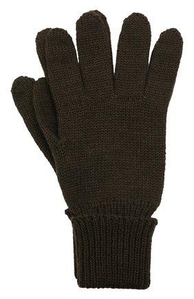 Детские шерстяные перчатки IL TRENINO хаки цвета, арт. 21 4055 | Фото 1 (Материал: Шерсть)