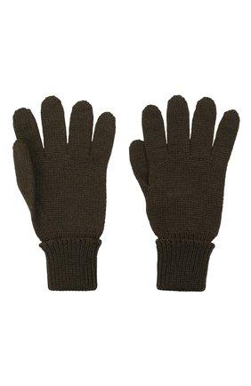 Детские шерстяные перчатки IL TRENINO хаки цвета, арт. 21 4055 | Фото 2 (Материал: Шерсть)