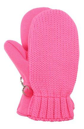 Детские шерстяные варежки IL TRENINO розового цвета, арт. 21 4062/18   Фото 1 (Материал: Шерсть)