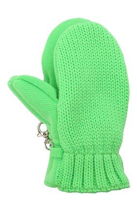 Детские шерстяные варежки IL TRENINO зеленого цвета, арт. 21 4062/18 | Фото 1 (Материал: Шерсть)