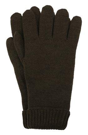 Детские шерстяные перчатки IL TRENINO хаки цвета, арт. 21 4063 | Фото 1 (Материал: Шерсть)