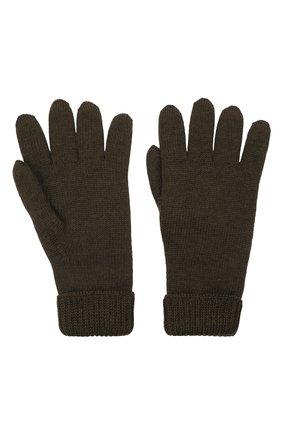 Детские шерстяные перчатки IL TRENINO хаки цвета, арт. 21 4063 | Фото 2 (Материал: Шерсть)