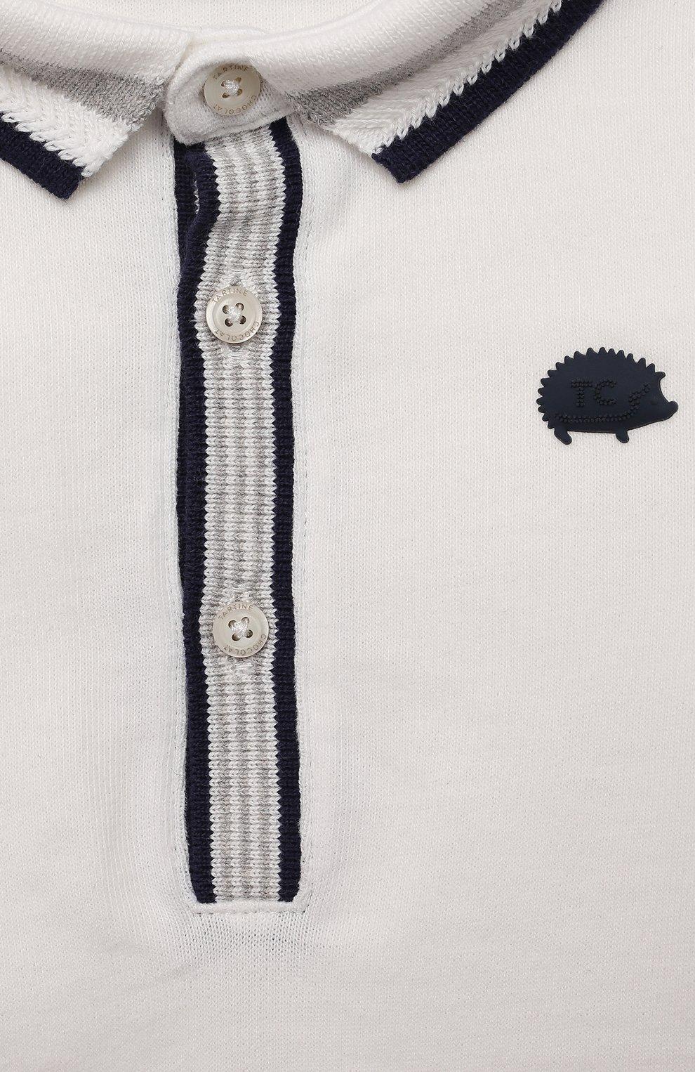 Детский хлопковое поло TARTINE ET CHOCOLAT кремвого цвета, арт. TT11161/1M-1A   Фото 3 (Рукава: Длинные; Материал внешний: Хлопок)