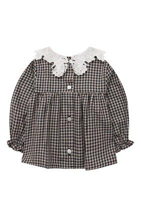 Детский хлопковая блузка TARTINE ET CHOCOLAT темно-синего цвета, арт. TT12021/12M | Фото 2 (Рукава: Длинные; Материал внешний: Хлопок)
