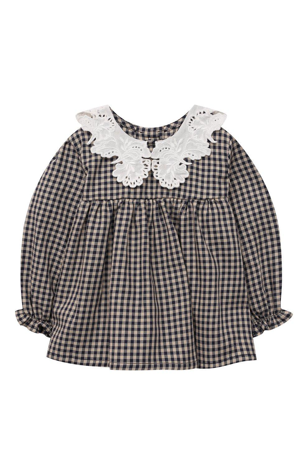 Детский хлопковая блузка TARTINE ET CHOCOLAT темно-синего цвета, арт. TT12021/1M-9M | Фото 1 (Рукава: Длинные; Материал внешний: Хлопок)
