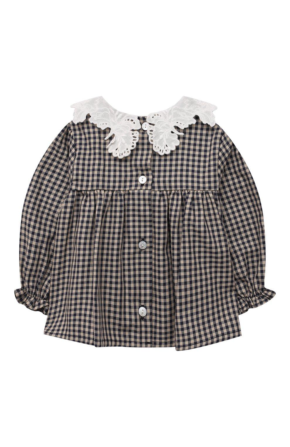Детский хлопковая блузка TARTINE ET CHOCOLAT темно-синего цвета, арт. TT12021/1M-9M | Фото 2 (Рукава: Длинные; Материал внешний: Хлопок)