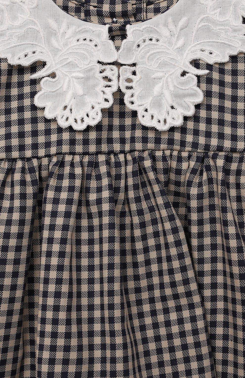 Детский хлопковая блузка TARTINE ET CHOCOLAT темно-синего цвета, арт. TT12021/1M-9M | Фото 3 (Рукава: Длинные; Материал внешний: Хлопок)