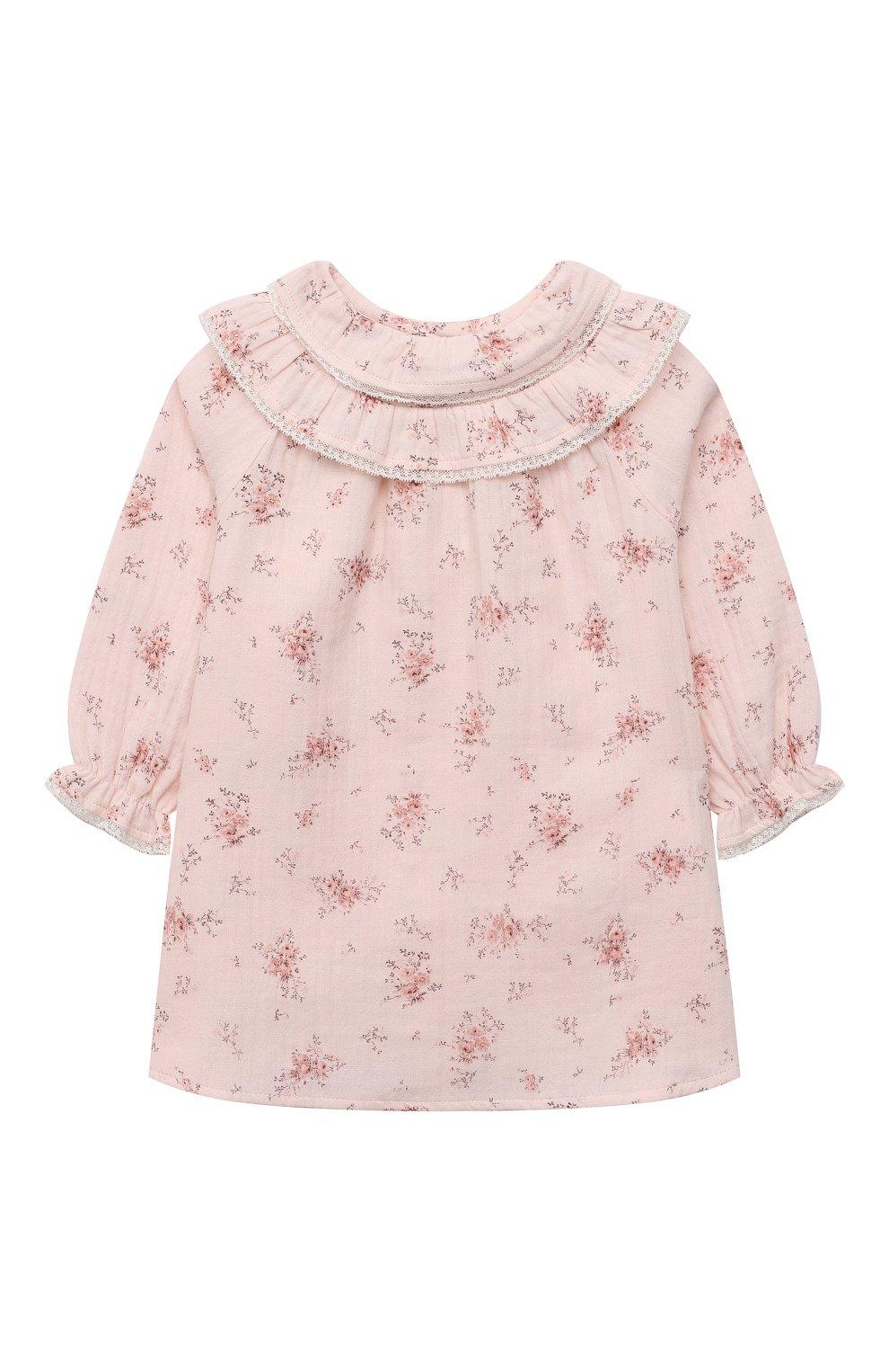 Женский хлопковое платье TARTINE ET CHOCOLAT светло-розового цвета, арт. TT30181/18M-3A | Фото 1 (Рукава: Длинные; Материал внешний: Хлопок)
