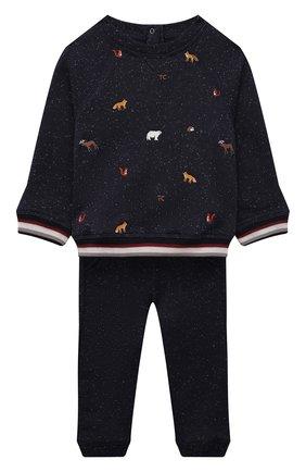 Детский комплект из свитшота и брюк TARTINE ET CHOCOLAT темно-синего цвета, арт. TT35001/1M-1A | Фото 1 (Рукава: Длинные; Материал внешний: Хлопок)