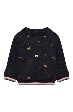 Детский комплект из свитшота и брюк TARTINE ET CHOCOLAT темно-синего цвета, арт. TT35001/1M-1A | Фото 2 (Рукава: Длинные; Материал внешний: Хлопок)