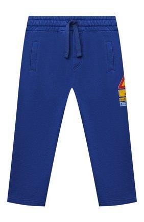 Детские хлопковые брюки DOLCE & GABBANA синего цвета, арт. L1JPDK/G7A7U   Фото 1 (Материал внешний: Хлопок; Ростовка одежда: 12 мес   80 см, 18 мес   86 см, 24 мес   92 см, 3 мес   62 см, 6 мес   68 см, 9 мес   74 см)