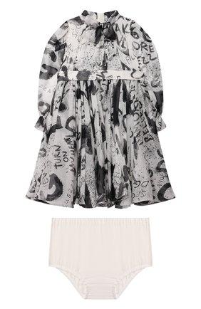 Женский комплект из платья и шорт DOLCE & GABBANA черно-белого цвета, арт. L22DW8/IS1JP | Фото 1 (Рукава: Длинные; Материал внешний: Шелк)