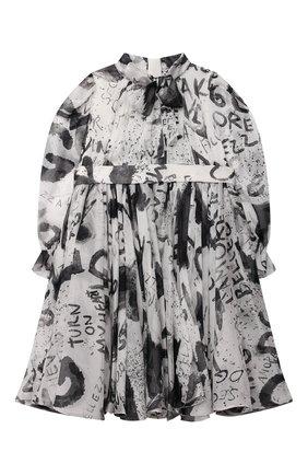 Женский комплект из платья и шорт DOLCE & GABBANA черно-белого цвета, арт. L22DW8/IS1JP | Фото 2 (Рукава: Длинные; Материал внешний: Шелк)