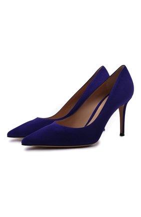 Женские замшевые туфли GIANVITO ROSSI синего цвета, арт. G24580.85RIC.CAMINDI   Фото 1 (Подошва: Плоская; Материал внутренний: Натуральная кожа; Каблук высота: Высокий; Каблук тип: Шпилька; Материал внешний: Замша)