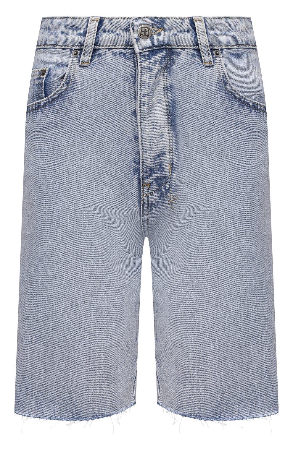 Женские джинсовые шорты KSUBI голубого цвета, арт. 5000006239 | Фото 1 (Женское Кросс-КТ: Шорты-одежда; Кросс-КТ: Деним; Длина Ж (юбки, платья, шорты): Мини, Миди; Стили: Гранж; Материал внешний: Хлопок)