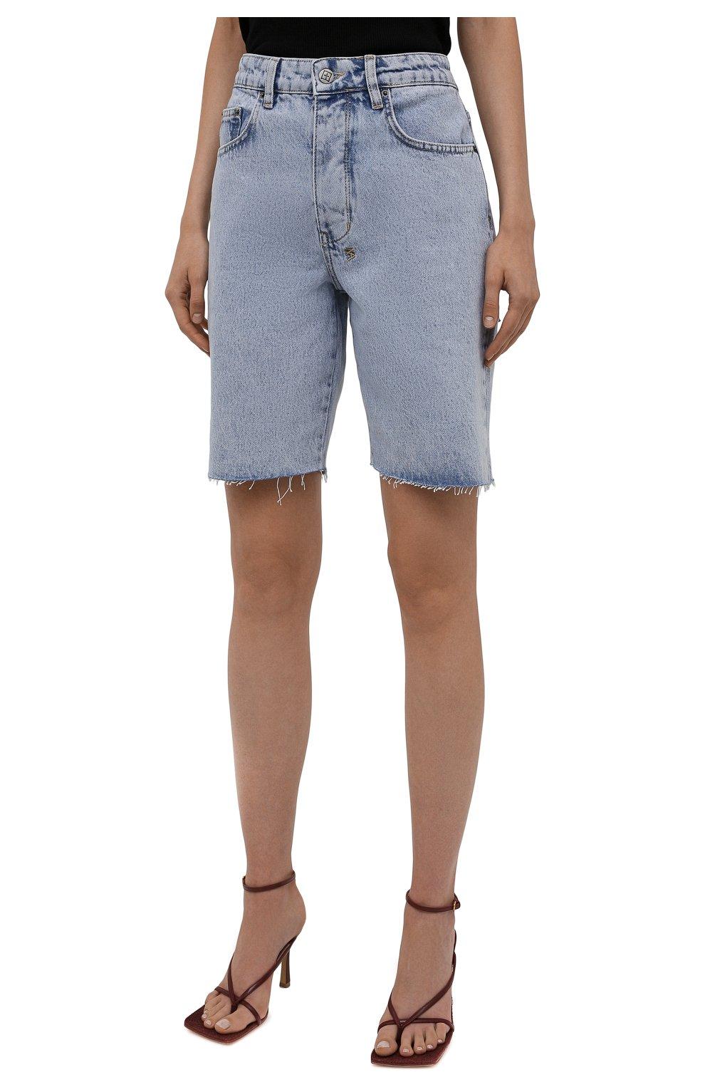 Женские джинсовые шорты KSUBI голубого цвета, арт. 5000006239 | Фото 3 (Женское Кросс-КТ: Шорты-одежда; Кросс-КТ: Деним; Длина Ж (юбки, платья, шорты): Мини, Миди; Стили: Гранж; Материал внешний: Хлопок)