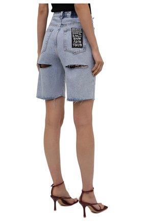 Женские джинсовые шорты KSUBI голубого цвета, арт. 5000006239 | Фото 4 (Женское Кросс-КТ: Шорты-одежда; Кросс-КТ: Деним; Длина Ж (юбки, платья, шорты): Мини, Миди; Стили: Гранж; Материал внешний: Хлопок)
