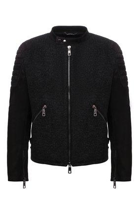 Мужская утепленная куртка DOLCE & GABBANA темно-серого цвета, арт. G9VM7L/GEU10 | Фото 1 (Материал подклада: Вискоза; Кросс-КТ: Куртка; Мужское Кросс-КТ: утепленные куртки; Стили: Кэжуэл; Рукава: Длинные; Длина (верхняя одежда): Короткие)