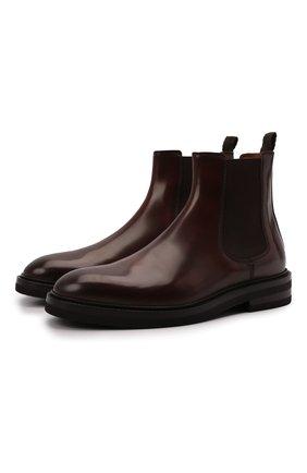 Мужские кожаные челси BRUNELLO CUCINELLI темно-коричневого цвета, арт. MZUVA0K853 | Фото 1 (Подошва: Плоская; Материал внутренний: Натуральная кожа; Мужское Кросс-КТ: Сапоги-обувь, Челси-обувь)