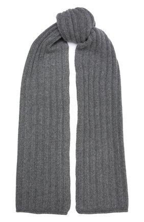 Женский кашемировый шарф ALLUDE темно-серого цвета, арт. 215/60631 | Фото 1 (Материал: Кашемир, Шерсть)