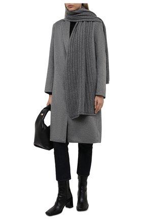 Женский кашемировый шарф ALLUDE темно-серого цвета, арт. 215/60631 | Фото 2 (Материал: Кашемир, Шерсть)