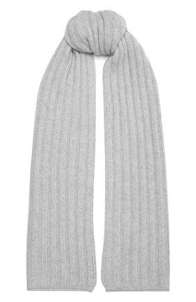 Женский кашемировый шарф ALLUDE светло-серого цвета, арт. 215/60631 | Фото 1 (Материал: Шерсть, Кашемир)