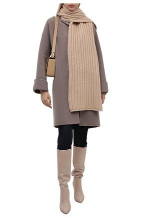 Женский кашемировый шарф ALLUDE бежевого цвета, арт. 215/60631 | Фото 2 (Материал: Кашемир, Шерсть)
