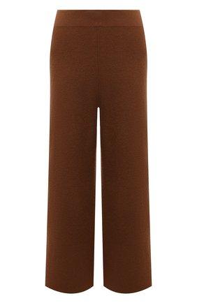 Женские брюки из шерсти и кашемира ALLUDE коричневого цвета, арт. 215/17606 | Фото 1 (Материал внешний: Кашемир, Шерсть; Женское Кросс-КТ: Брюки-одежда; Силуэт Ж (брюки и джинсы): Широкие; Стили: Спорт-шик; Длина (брюки, джинсы): Укороченные)