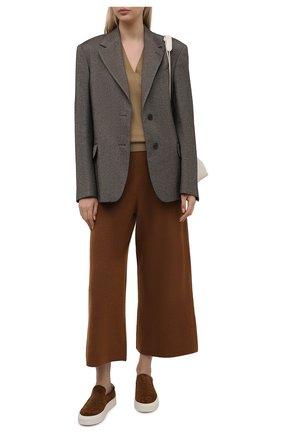 Женские брюки из шерсти и кашемира ALLUDE коричневого цвета, арт. 215/17606 | Фото 2 (Материал внешний: Кашемир, Шерсть; Женское Кросс-КТ: Брюки-одежда; Силуэт Ж (брюки и джинсы): Широкие; Стили: Спорт-шик; Длина (брюки, джинсы): Укороченные)