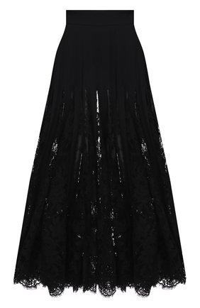 Женская юбка из хлопка и шелка DOLCE & GABBANA черного цвета, арт. F4B6XT/FUABF | Фото 1 (Материал внешний: Хлопок; Длина Ж (юбки, платья, шорты): Миди; Женское Кросс-КТ: Юбка-одежда; Стили: Романтичный)