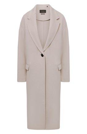 Женское пальто из шерсти и кашемира ISABEL MARANT кремвого цвета, арт. MA1035-21A008I/EFEZIA | Фото 1 (Материал внешний: Шерсть; 1-2-бортные: Однобортные; Стили: Кэжуэл; Рукава: Длинные; Длина (верхняя одежда): Длинные)