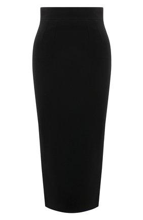 Женская шерстяная юбка DOLCE & GABBANA черного цвета, арт. F4BZBT/FU2TZ | Фото 1 (Длина Ж (юбки, платья, шорты): Миди; Материал подклада: Синтетический материал; Материал внешний: Шерсть; Женское Кросс-КТ: Юбка-одежда; Стили: Кэжуэл)