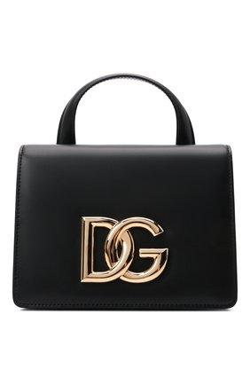 Женская сумка dg millennials DOLCE & GABBANA черного цвета, арт. BB7078/AW576   Фото 1 (Материал: Натуральная кожа; Размер: mini; Ремень/цепочка: На ремешке; Сумки-технические: Сумки top-handle)