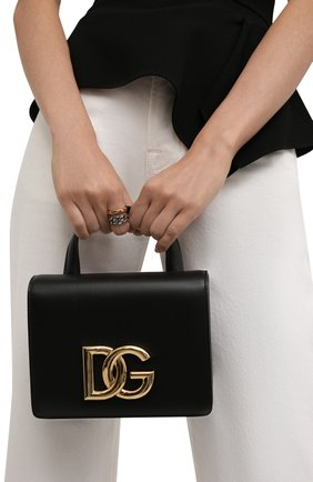 Женская сумка dg millennials DOLCE & GABBANA черного цвета, арт. BB7078/AW576   Фото 2 (Материал: Натуральная кожа; Размер: mini; Ремень/цепочка: На ремешке; Сумки-технические: Сумки top-handle)